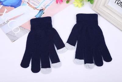 Guantes de Invierno de Punto para Mujer Guantes Gruesos cálidos de Otoño Invierno para Mujer Guantes de esquí con Pantalla táctil-Style 2 Navy Blue-One Size
