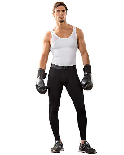 LEO Lange Boxershorts/Leggings für Herren - Herren Unterwäsche - Lange Unterhose für Herren-Schwarz-XL