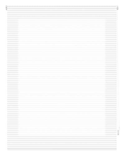 Blindecor Iris - Estor Enrollable Traslúcido Rayado. Blanco. 140x180 cm (Ancho x Alto). Tamaño de la Tela 137x175 ( Ancho x Alto )