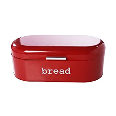 Juvale Large Bread Box for Kitchen Counter - Bread Bin Storage Container with Lid - Metal Vintage Retro Design for Loaves, Sliced Bread, Pastries, Red, 17 x 9 x 6 Inches