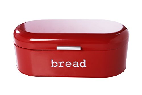 Large Bread Box for Kitchen Counter - Stainless Steel Bread Bin Storage Container Holder for Loaves, Pastries & More - Retro Vintage Design, Red, 17.3 x 8.3 x 6.5 inches