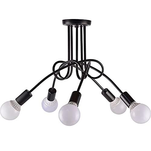 Mrdsre Luz de Techo Vintage de 5 Luces Lámpara de araña Industrial Nordic Retro Luz Colgante con E27 Lámpara Toma para Sala de Estar Comedor Bar Cafe Hotel Restaurant