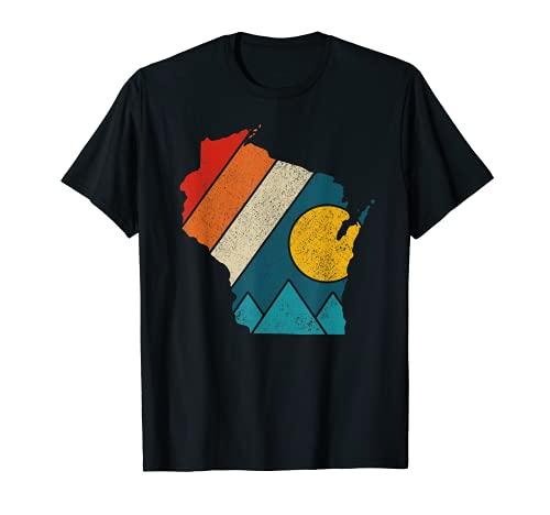 Wisconsin Vintage State Map Montañas Senderismo Orgullo Regalo Camiseta