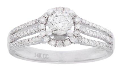 14 K oro blanco 1 CT TDW redondo-corte diamante genuino pave-Set anillo de compromiso de Halo (GH, I1)