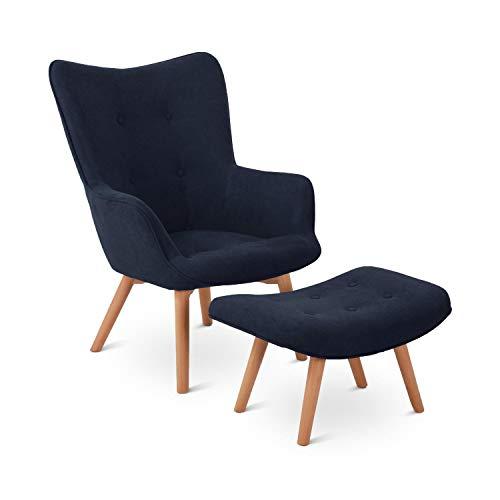 Besoa Hagersten Class 20 Sessel mit Fußbank, strapazierfähiger Bezugsstoff, Beine aus massivem Holz, klassisches Design, Petrol