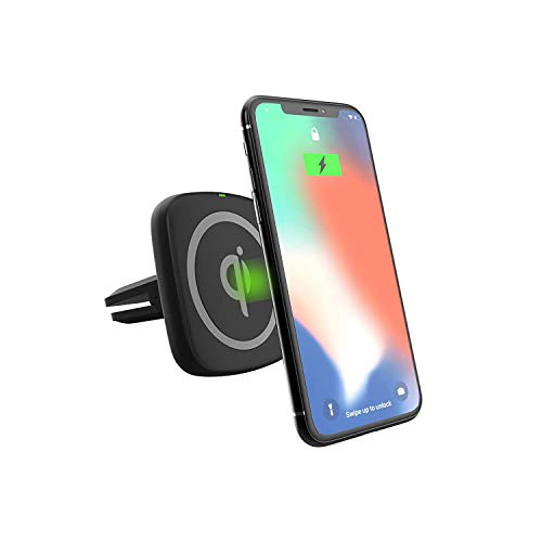Premier Accessory Group Energizer Ultimate Qi Wireless Charger Car Phone Holder Air Vent Dashboard Windshield Mount for Apple iPhone Android Smartphone, Magnetic Mounting Kit, 5W 7.5W 10W Black