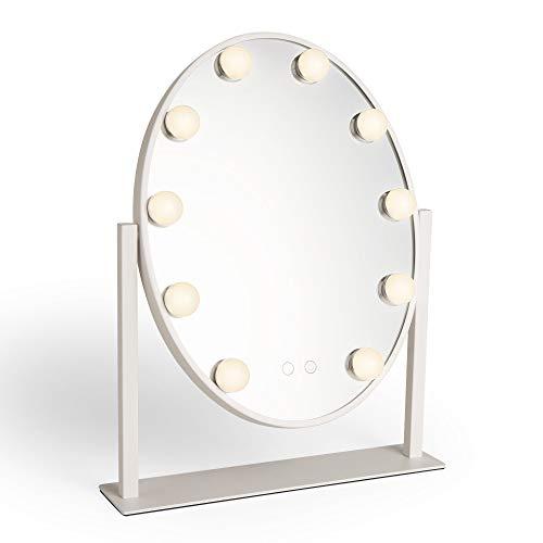 Beautify Espejo Oval Blanco - Tocador - Vanidad - Maquillaje - Cosméticos - Luces LED - Regulable - Sensor Táctil - Rotación de 360 - Mesa