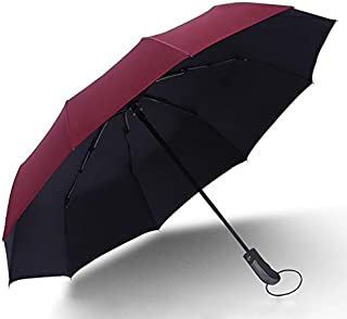 Folding Umbrella by Tiiyar – Large Windproof Ultravioletproof Auto Open/Close Water-Repellency Travel Umbrella/Golf Umbrella,210T Fabric Canopy 10 Ribs with Carrying Bag (Wine)