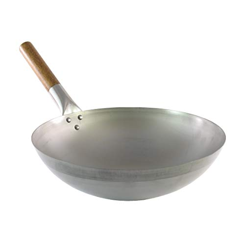 Wok tradicional de acero al carbono - Calidad profesional - Fondo redondo - Mango de madera - Ø 32,5 cm