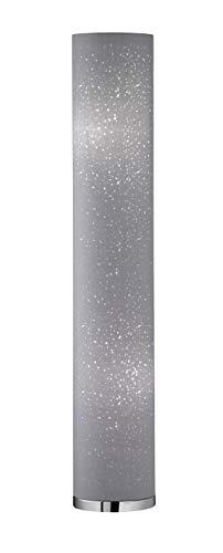 Fischer & Honsel Stehleuchte 2x E14 max.25W chr, Schirm grau mit Dekor