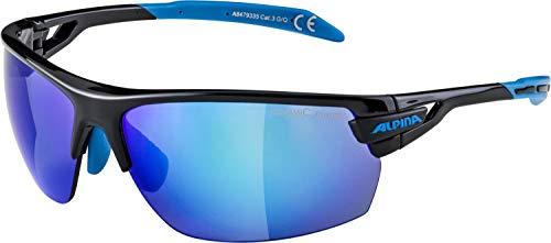 ALPINA TRI-SCRAY Sportbrille, Unisex– Erwachsene, black-cyan, one size