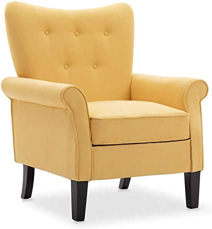 Best Artechworks Tufted Upholstered Accent Arm Chair, Love Shape Single Sofa Club Chair for Living Room,