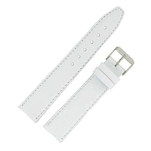 OnWatch - Correa de reloj de 20 mm, color blanco de piel auténtica, fabricación artesanal