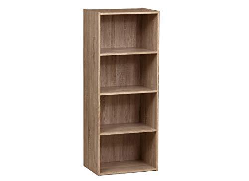 habeig Tube Bücherregal Standregal 4 Fächer Belastung Regalboden 30kg Standregal (42,5 x 106,5 x 29,5 cm Eiche)