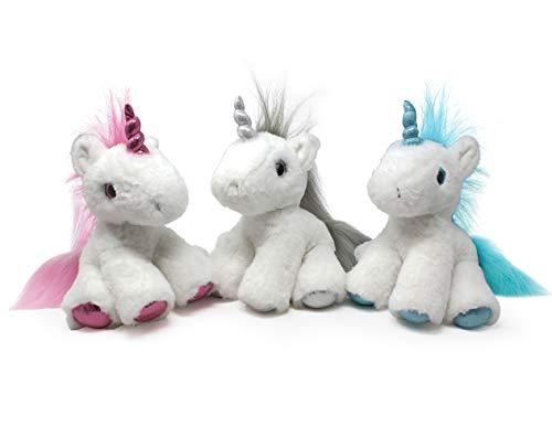 Fluffuns 3-Pack Unicorn Plush Toys - Cute Unicorn Stuffed Animals - Stuffed Animal Unicorns - 11 Inches (Pink Blue Silver)