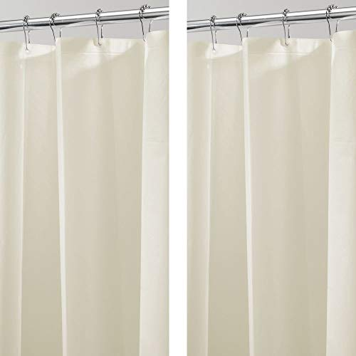 mDesign Plastic, Waterproof, Mold/Mildew Resistant, PEVA Shower Curtain Liner for Bathroom Showers and Bathtubs - No Odor - 3 Gauge, 72 inches x 72 inches - 2 Pack - Sand