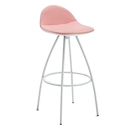 QIDI-hoofddecoratie ijzeren kunstbar stoel, ergonomie, Nordic hoge kruk PU-leer met hoge krukken, met rugleuning & pedaal barkruk, zithoogte 70 cm