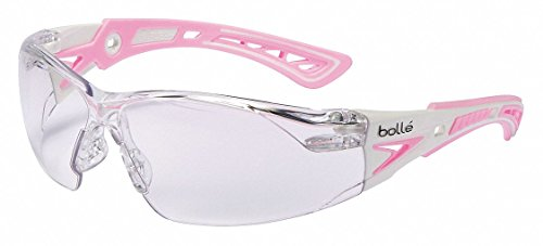Bolle Rush Plus Small Safety Glasses White/Pink Temples Clear Anti-Fog Lens
