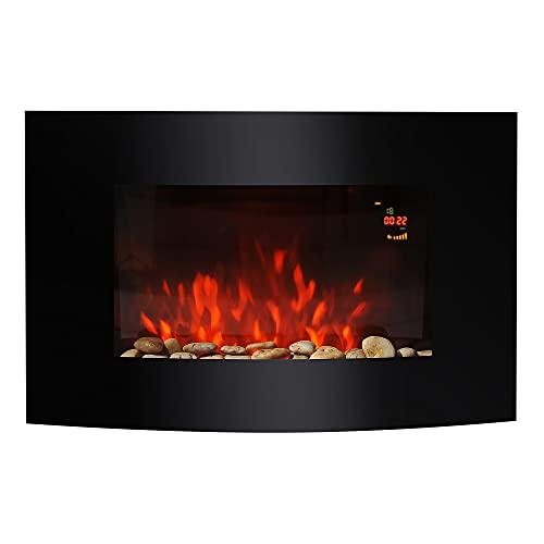HOMCOM Large LED Curved Glass Electric Wall Mounted FIRE Place Fireplace 7 Colour Side Lights Slimline Plasma Fan Heater