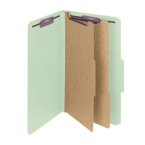 """Smead Pressboard Classification File Folder with SafeSHIELD Fasteners, 2 Dividers, 2"""" Expansion, Legal Size, Gray/Green, 10 per Box (19076)"""