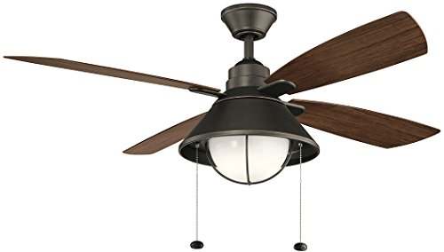 "Kichler 310181OZ Seaside 54"" Outdoor Ceiling Fan with LED Light, Olde Bronze"