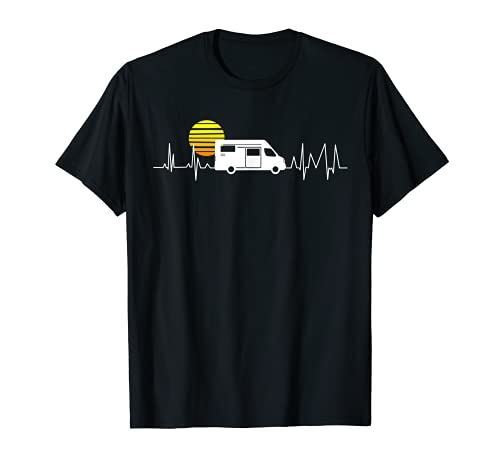 Camper Kastenwagen Herzschlag Sonnenuntergang - Camping EKG T-Shirt