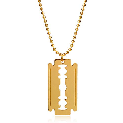 Modeschmuck Golden Barber Shop Rasiermesser Halskette Anhänger Rasiermesserförmige Halskette Lange Kette Hip Hop Herren Halskette