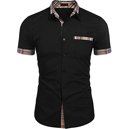 Camisa Informal para Hombre, Costura a Juego con el Color, Solapa clásica, Moda, Ajuste, Tendencia, Salvaje,...
