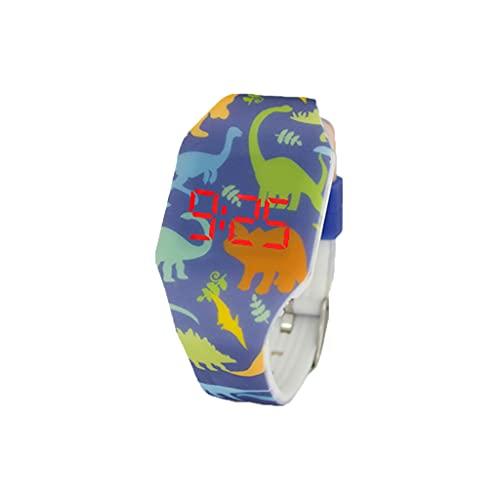 KIDDUS Reloj LED Digital para niña o niño. Pulsera de Silicona Suave para niños y Adultos. Batería Japonesa reemplazable. Fácil de Leer y Aprender Las Horas. KI10207 Dinos