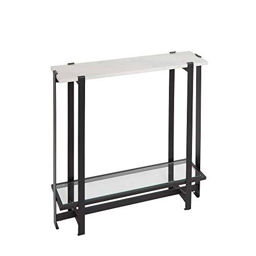 Silverwood Console Table, Faux Marble and Black