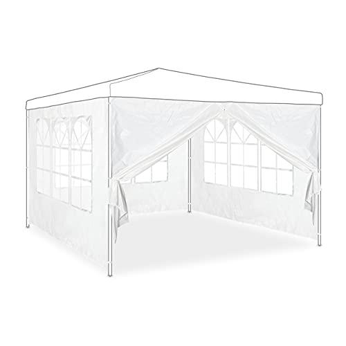 Relaxdays Pavillon Seitenwand 4er Set, 2x3 m, Seitenteile mit Fenster & Reißverschluss, wasserdicht, aus PVC & PE, weiß