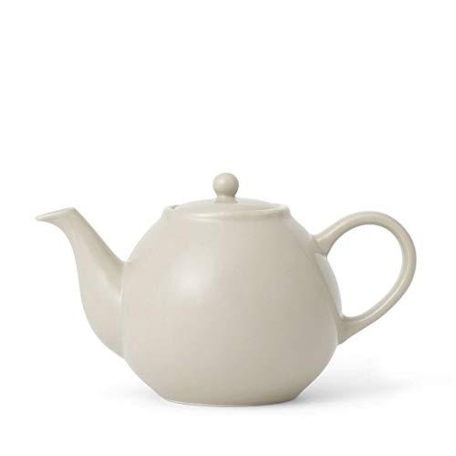 Porzellan Retro Teekanne beige mit Deckel, Tee-Sieb, Henkel und Nicht tropfenden Ausguss, 0,84 Liter