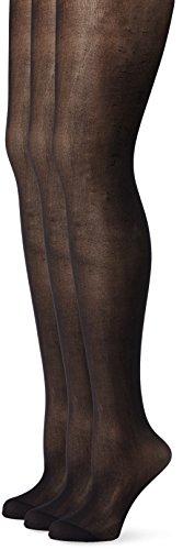 Ulla Popken Große Größen Damen Weites Bein Strumpfhose 3er Pack, soft 698492, 20 DEN, Gr. XXXX-Large (Herstellergröße: 56+), Schwarz (Schwarz 10)