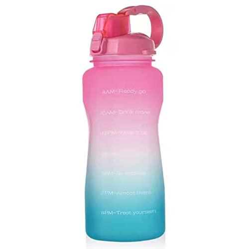 QAZW 64 oz Motivational Water Bottle with Time Marker Reminder and Straw, Leak-proof No BPA Water Bottle Jug for Fitness Gym Outdoor Sports Activity,Pink/Green-3.8L