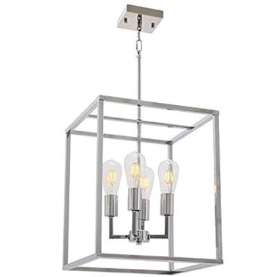 VINLUZ 4 Light Industrial Kitchen Pendant Light in Chrome Finish Lantern Iron Indoor Chandelier Ceiling Lighting Fixture for Stairway Living Room