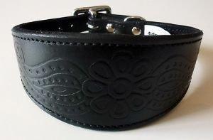25,4–30,5cm schwarz Paisley Leder geprägt Design Whippet Greyhound Halsband 3Größen