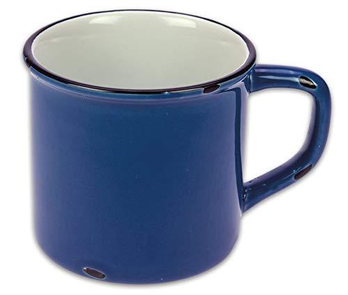 Tony Brown Kaffeebecher Emaille-Optik Tassen Becher Kaffeetasse Teetasse Keramiktasse 500ml (Blau, 1er)
