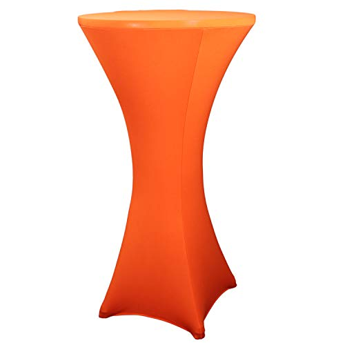 WXYSHOME Cocktail Spandex Stretch Round Tablecloth Table Cover 24 x 43 inch for Weddings Bars Party, Neon Orange