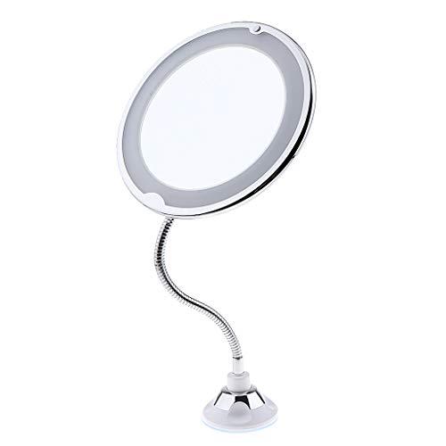 CUTICATE 360° Schwenkbar LED Kosmetikspiegel mit Licht Make-up Spiegel Beleuchtet Schminkspiegel mit 10x Vergrößerung und Saugnapf wandmontage
