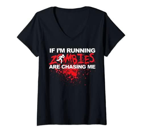 Mujer Si estoy ejecutando Zombies me estn persiguiendo Camiseta Cuello V