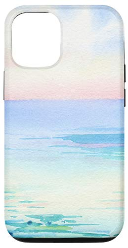 iPhone 12/12 Pro Watercolor beach scene tropical waves sunset Case