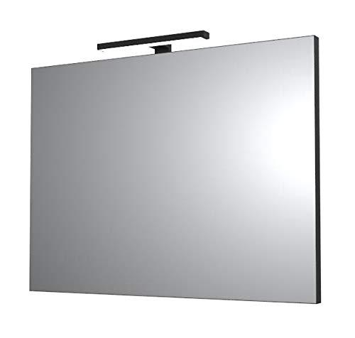 Ve.Ca. Specchi con Bordo Nero arredo Bagno e casa - Design minimale - con Luce/plafoniere LED Colore Nero (80x60 cm)