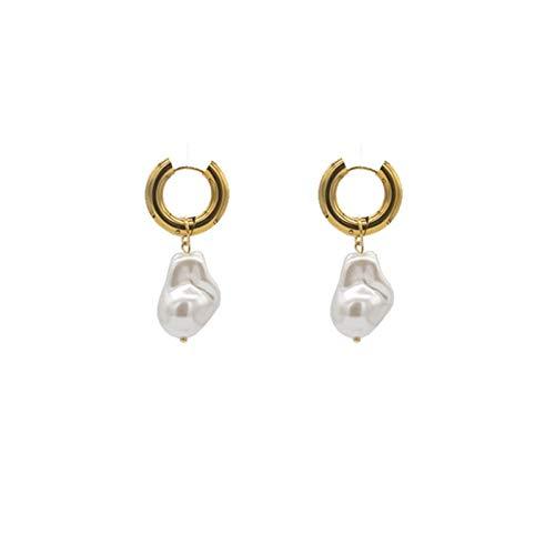 ZhenS Pendientes Circulares Pendientes de Perlas barrocas de imitación Vintage Pendientes Circulares Dorados Joyería de Mujer Golden Punk Redondo-Color Dorado