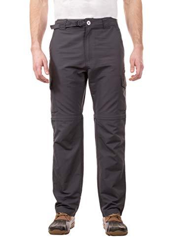 Swiss Alps Herren Hose UPF 30+ Sonnenschutz Multi Pocket Convertible Pants - Grau - 32W / 32L