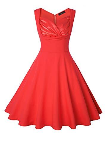 FOBEXISS - Mini abito da sera da donna, senza maniche, con stampa a pois, a vita alta, con cerniera Rosso S