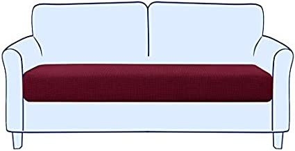 Subrtex Stretch Cushion Cover Couch Cushion Slipcover RV Seat Covers Chair Loveseat Sofa Cushion Protector Spandex Elastic Furniture Protector for Seat (Medium,Wine)