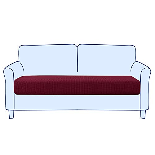 subrtex Sofa Seat Cushion Covers Stretch Polyester Fabric Seat Cushion Protector (2 Seaters, Wine)