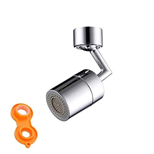 720 ° Rotate Grifo Aireador universal antisalpicaduras, filtro para lavado de ojos, estación de lavado de ojos, ángulo flexible giratorio para baño, cocina, lavadero (1 aireador de grifo + 1 llave)