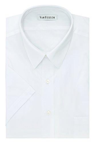Van Heusen Men's Size Fit Short Sleeve Dress Shirts Poplin Solid (Big and Tall), White, 17.5
