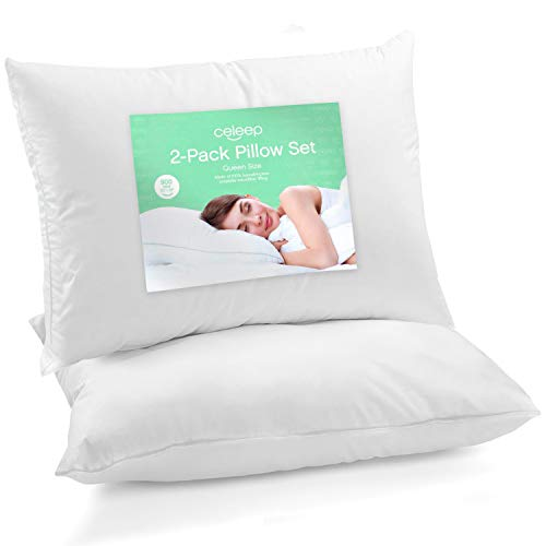 Celeep Queen Bed Pillows (2-Pack) - Premium Sleeping Pillows - Soft Sand Washed Cover - Hypoallergenic Microfiber Filling
